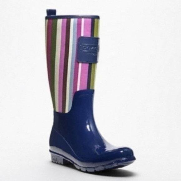 Coach Pearl Multicolor/ Ink Rain Boots Size 6